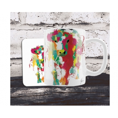 Scruffy Cow Colourful Mug & Coaster Gift Set
