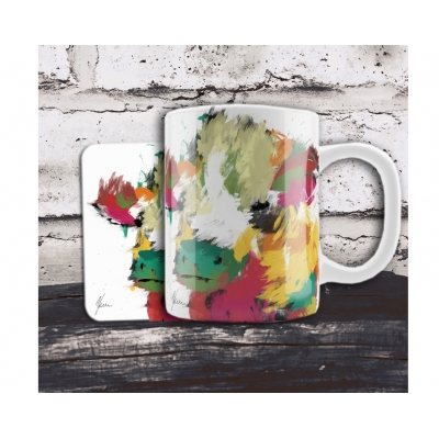 Scruffy Highland Cow Mug & Coaster Gift Set