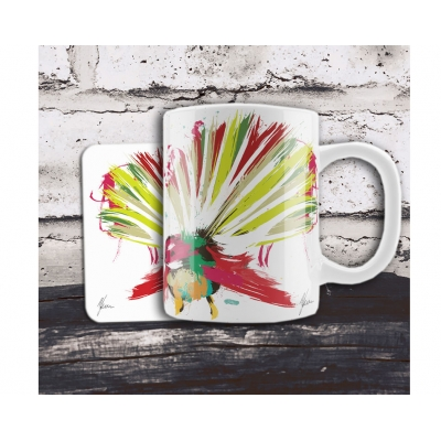 Scruffy Fantail Bird Mug and Coaster Gift Set