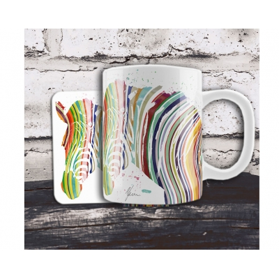 Colourful Zebra Mug & Coaster Gift Set