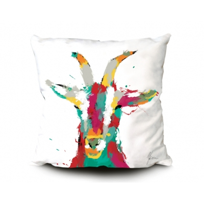Goat Print Cushion White- Multi Coloured Fine Art Print