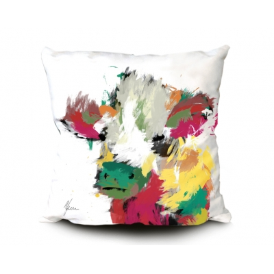 Highland Cow Cushion White- Scruffy Multi Coloured Design