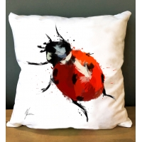 Ladybird Cushion- Vibrant colourful cushions by Aimee Freeman