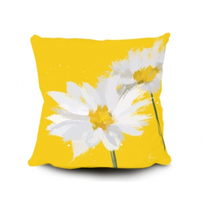 Daisy Cushion, Digital painting by Aimee Freeman- Yellow