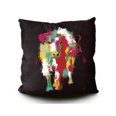 Cow Cushion Black- Colourful rainbow fine art design