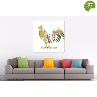 Colourful striped rooster painting- Print on canvas by Aimee Freeman