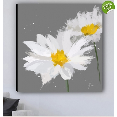 Scruffy Daisy Painting- Digital Print on Canvas- Grey