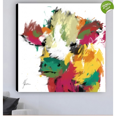 Highland Cow Fine Art Canvas Print- White