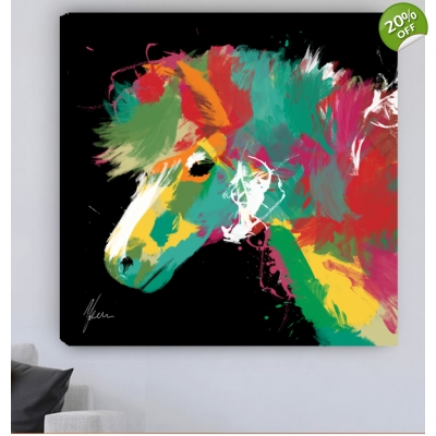 "Scruffy Pony Fine Art Canvas Print- Black 30x30"" 76x76cm"