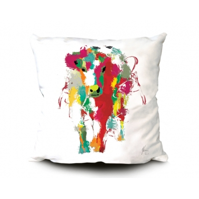 Cow Cushion- Colourful rainbow fine art design