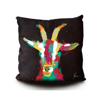 Goat Print Cushion Blac..