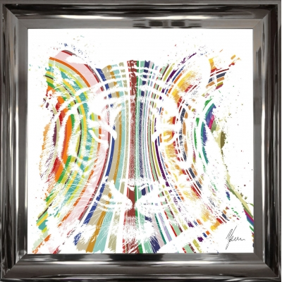 55x55cm Stripey Tiger Fine Art Framed Print