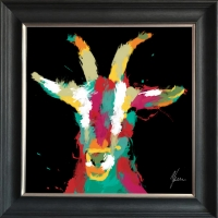 55x55cm Framed fine art print- Scruffy Goat Gold Foil Finished