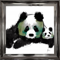Panda Cub Fine Art Framed Print Green Foil Finished