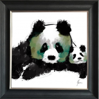 55x55cm Panda Cub Fine Art Framed Print Green Foil Finished