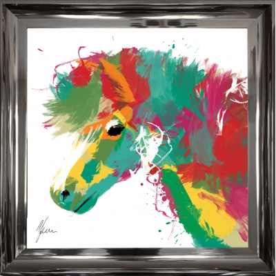 55x55cm Framed fine art print- Scruffy Pony Print Gold Foi..