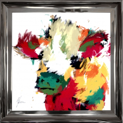 55x55cm Framed fine art print- Scruffy Highland Cow Gold F..