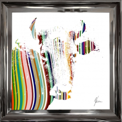 55x55cm Cow Fine Art Framed Print