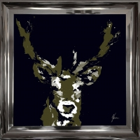 Stag Head Fine Art Framed Print Gold Foil Finished