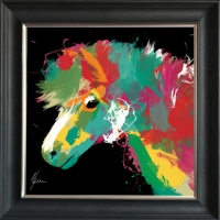 55x55cm Framed fine art print- Scruffy Pony Print Gold Foil Finished