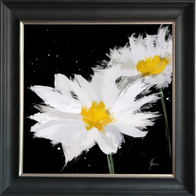 Scruffy Black & White Daisy- Silver Foil Finished