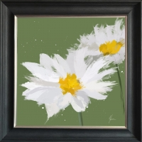 55x55cm Scruffy Green & White Daisy- Silver Foil Finished