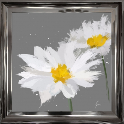 55x55cm Scruffy Grey & White Daisy- Silver Foil Finished