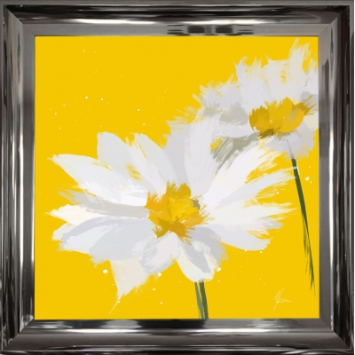 55x55cm Scruffy Yellow & White Daisy- Silver Foil Finished