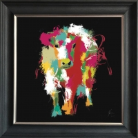 55x55cm Framed fine art print- Scruffy Moo Cow- Black