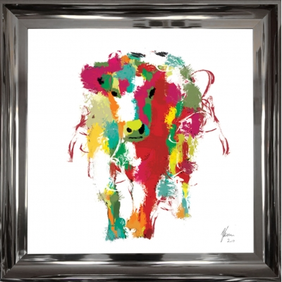 55x55cm Framed fine art print- Scruffy Moo Cow- White Foil..