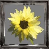 Scruffy Sunflower- Grey Background- Silver Foil Finished