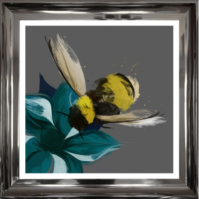 55x55cm Scruffy Bumblebee Art Print- Hand finished with silver foil