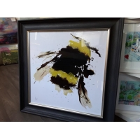 55x55cm Bumblebee Framed Print Gold Foil Finished