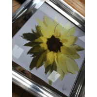 55x55cm Scruffy Sunflower- White Background- Silver Foil Finished