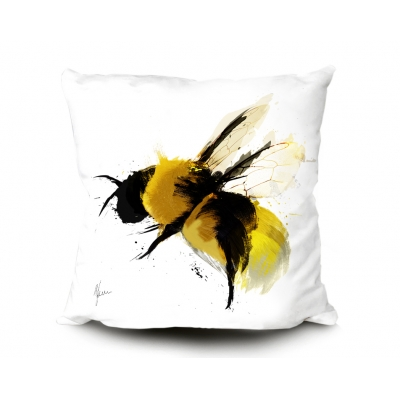 Bumblebee in flight Cushion 45x45cm Luxury Faux Suede