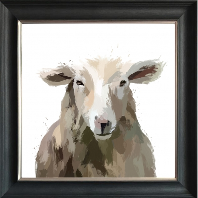 55x55cm Sheep Fine Art Framed Print Gold Foil Finished