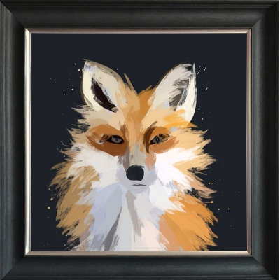 55x55cm Fox Framed Print Gold Foil Finished