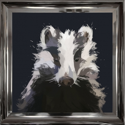 55x55cm Badger Framed Print Gold Foil Finished