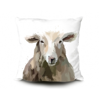 White Sheep Cushion 45x45cm Luxury Faux Suede