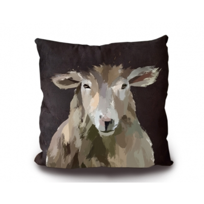 Black Sheep Cushion 45x45cm Luxury Faux Suede
