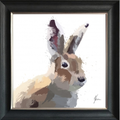 75x75cm Hare Framed Print Gold Foil Finished