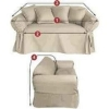 Dual Reclining LOVESEAT Slipcover T Cushion Twill Contrast Taupe Cover