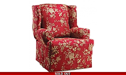 WING CHAIR Slipcover Floral Burgundy Red Wingback Sure Fit Slip Cover