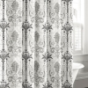 Laura Ashley Shower Curtain Shabby Toile Floral Black Gray White
