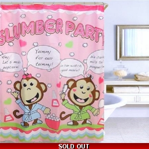 Fabric Shower Curtain Little Monkeys at Slumber Party Popcorn Pink