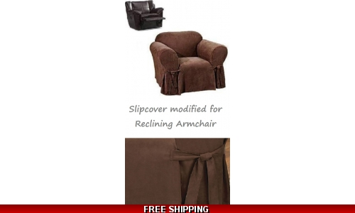 Reclining CHAIR Slipcover Suede Chocolate Sure Fit Armchair Cover