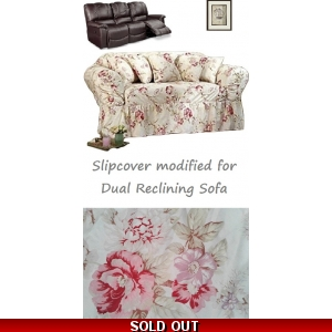 Dual Reclining SOFA Slipcover Shabby Floral Antique Rose SureFit Couch