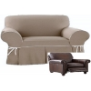 Reclining SNUGGLER CHAIR Slipcover Contrast Taupe Linen Wide Cuddler
