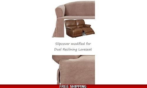 Dual Reclining LOVESEAT Slipcover T Cushion Suede Taupe Sure Fit Cover