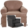 Reclining CHAIR Slipcover T Cushion Suede Taupe Sure Fit Armchair